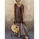 Χαμηλού Κόστους Τσάντες χιαστί-Γυναικεία Μεγάλα Μεγέθη Swing Φόρεμα - Φλοράλ, Στάμπα Μακρύ Λαιμόκοψη V