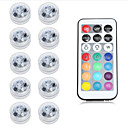billiga Strålkastare-10pcs 1 W Undervattensglödlampa Vattentät / Fjärrstyrd RGB 2 V Simbassäng / Lämplig för vaser och akvarier 2 LED-pärlor