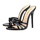 ราคาถูก รองเท้าแตะผู้หญิง-สำหรับผู้หญิง รองเท้าแตะ ส้น Stiletto เปิดนิ้ว PU คลาสสิก ฤดูร้อน Almond / แดง / สีดำ / พรรคและเย็น / พรรคและเย็น
