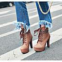 ราคาถูก รองเท้าบูตผู้หญิง-สำหรับผู้หญิง PU ตก บูท ส้นหนา บู้ทสูงระดับกลาง ผ้าขนสัตว์สีธรรมชาติ / สีเหลือง / สีน้ำตาล