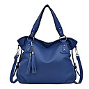 cheap Top Handles & Tote Bags-Women's Buttons / Tassel PU Top Handle Bag Solid Color Black / Brown / Blue
