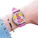 baratos Brincos-Mulheres Relógio Elegante Quartzo Couro Preta / Branco / Azul Cronógrafo Relógio Casual Adorável Analógico Flor Colorido - Vermelho Azul Rosa claro Um ano Ciclo de Vida da Bateria
