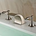 Χαμηλού Κόστους Βρύσες Νιπτήρα Μπάνιου-Μπάνιο βρύση νεροχύτη - Καταρράκτης / Εκτεταμένο Βουρτσισμένο Νικέλιο Αναμεικτικές με ξεχωριστές βαλβίδες Δύο λαβές τρεις οπέςBath Taps