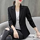 ราคาถูก เสื้อคลุมผู้หญิง-สำหรับผู้หญิง เสื้อคลุมสุภาพ, สีพื้น ปกคอแบะของเสื้อแบบน็อตช์ เส้นใยสังเคราะห์ / สแปนเด็กซ์ ขาว / สีดำ