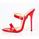 ราคาถูก รองเท้าแตะผู้หญิง-สำหรับผู้หญิง PU ฤดูร้อน คลาสสิก รองเท้าแตะ ส้น Stiletto เปิดนิ้ว หัวเข็มขัด ขาว / สีดำ / แดง / พรรคและเย็น