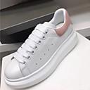 ราคาถูก รองเท้าแตะผู้หญิง-สำหรับผู้หญิง หนัง ฤดูใบไม้ผลิ รองเท้าผ้าใบ ส้นแบน Pink And White / สีดำและสีขาว