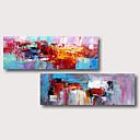 povoljno Slike za cvjetnim/biljnim motivima-ručno oslikana rastegnut ulje na platnu platnu spreman objesiti apstraktni stil materijala visoke kvalitete plava ljubičasta crvena