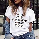 Χαμηλού Κόστους Γυναικείες Μπλούζες-Γυναικεία T-shirt Γράμμα Στάμπα Λευκό