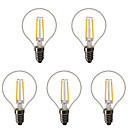 ราคาถูก หลอดโคมไฟLED-5pcs 1.5 W หลอด LED กลม หลอดไฟLED Filament 200 lm E14 E26 / E27 G45 2 ลูกปัด LED LED กำลังสูง ตกแต่ง ขาวนวล 220-240 V 220 V 230 V