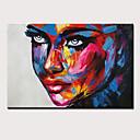 Χαμηλού Κόστους Πίνακες Ανθρώπων-Hang-ζωγραφισμένα ελαιογραφία Ζωγραφισμένα στο χέρι - Άνθρωποι Αφηρημένα Πορτραίτα Μοντέρνα Περιλαμβάνει εσωτερικό πλαίσιο / Επενδυμένο καμβά