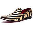 ราคาถูก รองเท้าแตะ & Loafersสำหรับผู้ชาย-สำหรับผู้ชาย Novelty Shoes แน๊บป้า Leather ฤดูใบไม้ผลิ / ตก ไม่เป็นทางการ / อังกฤษ รองเท้าส้นเตี้ยทำมาจากหนังและรองเท้าสวมแบบไม่มีเชือก ไม่ลื่นไถล ลายแถบ สีทอง / พรรคและเย็น / พรรคและเย็น