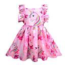 povoljno Movie & TV Theme Costumes-Djeca Djevojčice Slatka Style Izlasci Unicorn Duga Bez rukávů Do koljena Haljina Blushing Pink