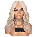 billige Syntetiske parykker med blonde-Syntetisk blonder foran parykker Bølget Midtdel Blonde Forside Parykk Blond Kort Platinum Blond Syntetisk hår 14 tommers Dame Justerbar Varme resistent Dame Blond