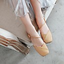 ราคาถูก รองเท้าแตะผู้หญิง-สำหรับผู้หญิง PU ฤดูร้อนฤดูใบไม้ผลิ minimalism รองเท้าแตะ ส้นต่ำ Square Toe ผ้าขนสัตว์สีธรรมชาติ / สีเหลือง / สีชมพู