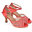 olcso Latin cipők-Női Dance Shoes Szintetikus Latin cipők Glitter / Kristály / Strassz / Illesztés Magassarkúk Kúpsarok Személyre szabható Sötétlila / Piros / Kék / Teljesítmény / Bőr