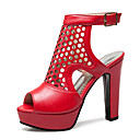 ราคาถูก รองเท้าแตะผู้หญิง-สำหรับผู้หญิง PU ฤดูร้อนฤดูใบไม้ผลิ คลาสสิก / อังกฤษ รองเท้าแตะ ส้นหนา ที่สวมนิ้วเท้า สีดำ / สีเหลือง / แดง / พรรคและเย็น