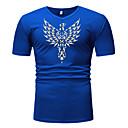 billige T-skjorter og singleter til herrer-Bomull V-hals EU / USA størrelse T-skjorte Herre - Grafisk, Trykt mønster Svart