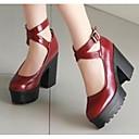 ราคาถูก รองเท้าส้นสูงผู้หญิง-สำหรับผู้หญิง PU ฤดูใบไม้ผลิ & ฤดูใบไม้ร่วง รองเท้าส้นสูง ส้นหนา ขาว / สีดำ / แดง