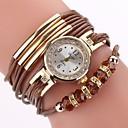ราคาถูก รองเท้าแตะผู้หญิง-สำหรับผู้หญิง นาฬิกาสร้อยข้อมือ นาฬิกาอิเล็กทรอนิกส์ (Quartz) สไตล์ ถัก Cubic Zirconia PU Leather ดำ / ฟ้า / แดง นาฬิกาใส่ลำลอง เลียนแบบเพชร ระบบอนาล็อก ไม่เป็นทางการ แฟชั่น - ทับทิม สีเทา Peach