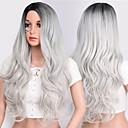 Χαμηλού Κόστους Συνθετικές περούκες με δαντέλα-Περούκες Στολών Κυματιστό Κυματομορφή Σώματος Μέσο μέρος Περούκα Ombre Μακρύ Ombre Color Συνθετικά μαλλιά 24 inch Γυναικεία Πάρτι συνθετικός Εύκολη σάλτσα Γκρι Ombre