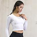 זול ביגוד כושר, ריצה ויוגה-בגדי ריקוד נשים יוגה למעלה צבע אחיד אלסטיין יוגה כושר אמון צמרות שרוול ארוך לבוש אקטיבי קל משקל נושם ייבוש מהיר תומך זיעה גמישות גבוהה
