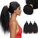 זול תוספות משיער אנושי-3 חבילות שיער הודי יקי שיער ראמי שיער אדםלא מעוב טווה שיער אדם הארכה שיער Bundle 8-28 אִינְטשׁ צבע טבעי שוזרת שיער אנושי מתנה נשים גבר מארג תוספות שיער אדם / שיער טבעי