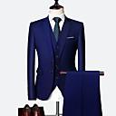 ราคาถูก กระเป๋าแบ็กแพ็กและกระเป๋า-ชุดทักซิโด้ Standard Fit ปกกว้าง กระดุมสองเม็ดเรียงแถวเดียว เส้นใยสังเคราะห์ สีพื้น