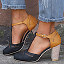 ราคาถูก รองเท้าแตะผู้หญิง-สำหรับผู้หญิง Synthetics ฤดูใบไม้ผลิ & ฤดูใบไม้ร่วง / ฤดูร้อนฤดูใบไม้ผลิ ไม่เป็นทางการ / minimalism รองเท้าส้นสูง ส้นหนา ที่สวมนิ้วเท้า หัวเข็มขัด สีดำ / สีเทา / ฟ้า