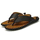 ราคาถูก รองเท้าแตะผู้ชาย-สำหรับผู้ชาย รองเท้าสบาย ๆ แน๊บป้า Leather ฤดูใบไม้ผลิ / ฤดูร้อน คลาสสิก / ไม่เป็นทางการ รองเท้าแตะและรองเท้าแตะ ระบายอากาศ สีดำ / สีน้ำตาล / ไวน์