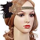 povoljno Stare svjetske nošnje-Čarlston Vintage 1920s Gatsby Traka za kosu u stilu 20-ih Žene Kostim Crn / Zlatan / Obala Vintage Cosplay Festival