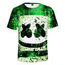 billige Topper til gutter-Barn Gutt Aktiv Trykt mønster Kortermet Bomull T-skjorte Grønn