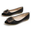 ราคาถูก รองเท้าส้นสูงผู้หญิง-สำหรับผู้หญิง PU ฤดูใบไม้ผลิ รองเท้าส้นเตี้ย ส้นแบน หัวเข็มขัด สีดำ / แดง / Almond