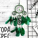 olcso Álomfogó-kézzel készített álom fogók zöld memória belső 5 gyűrű álom catcher medál fal art dekoráció