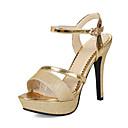 povoljno Modne naušnice-Žene PU Ljeto Klasik / minimalizam Cipele na petu Stiletto potpetica Otvoreno toe Kopča Zlato / Pink / Zabava i večer
