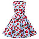 Χαμηλού Κόστους Βρεφικά Για Αγόρια σετ ρούχων-Παιδιά Κοριτσίστικα Βίντατζ χαριτωμένο στυλ Φρούτα Στάμπα Αμάνικο Ως το Γόνατο Φόρεμα Θαλασσί / Βαμβάκι