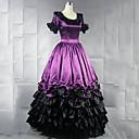 ราคาถูก เสื้อผ้าประวัติศาสตร์และวินเทจ-วินเทจ Princess Lolita Rococo หนึ่งชิ้น ชุดเดรส คอสเพลย์และคอสตูม Female ญี่ปุ่น เครื่องแต่งกายคอสเพลย์ สีม่วง / สีเหลือง / แดง ลายต่อ แขนสั้น Maxi ความยาว / Victorian