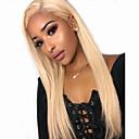 Χαμηλού Κόστους Συνθετικές περούκες με δαντέλα-Συνθετικές μπροστινές περούκες δαντέλας Ίσιο Μέσο μέρος Με μικρές μπούκλες Δαντέλα Μπροστά Περούκα Χρυσό πολύ μακριά Blonde Συνθετικά μαλλιά 30 inch Γυναικεία με τα μαλλιά μωρών Πάρτι Γυναικεία Χρυσό