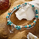 cheap Body Jewelry-Women's Ankle Bracelet Tropical Star Starfish Anchor Trendy Casual / Sporty Fashion Cute Anklet Jewelry Turquoise For Daily Carnival Street