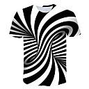 Χαμηλού Κόστους Συνθετικά εξτένσιον-Ανδρικά T-shirt Ριγέ / 3D Στρογγυλή Λαιμόκοψη Στάμπα Πορτοκαλί / Κοντομάνικο