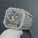 Χαμηλού Κόστους Αντρικά Δαχτυλίδια-Ανδρικά Δαχτυλίδι Cubic Zirconia 1pc Λευκό Χαλκός Geometric Shape Στυλάτο Iced Out Ιριδύων Γάμου Πάρτι Κοσμήματα Κλασσικό Ετοιμάζω τον δρόμον Χαρά Στρας Απίθανο