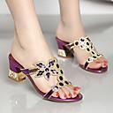 ราคาถูก รองเท้าแตะผู้หญิง-สำหรับผู้หญิง Synthetics ฤดูใบไม้ผลิ & ฤดูใบไม้ร่วง / ฤดูร้อนฤดูใบไม้ผลิ หวาน / minimalism รองเท้าแตะ ส้นหนา เปิดนิ้ว คริสตัล / หินประกาย สีทอง / สีม่วง / ฟ้า / พรรคและเย็น