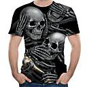 billige Menns øredobber-Rund hals EU / USA størrelse T-skjorte Herre - Fargeblokk / 3D / Hodeskaller, Trykt mønster Svart