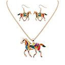 billiga Smyckeset-Dam Ringformade Örhängen Halsband Vintage Stil Häst Läcker örhängen Smycken Guld / Silver Till Party Dagligen 1set