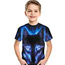ราคาถูก Smartwatches-เด็ก Toddler เด็กผู้ชาย ซึ่งทำงานอยู่ พื้นฐาน Wolf ลายพิมพ์ 3D สัตว์ ลายพิมพ์ แขนสั้น เสื้อยืด สีน้ำเงิน
