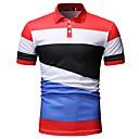 billige Tilbehør til herrer-Skjortekrage Polo Herre - Fargeblokk Svart / Kortermet