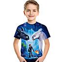 Χαμηλού Κόστους Μπλουζάκια για αγόρια-Παιδιά Νήπιο Αγορίστικα Ενεργό Βασικό Στάμπα Στάμπα Κοντομάνικο Κοντομάνικο Θαλασσί
