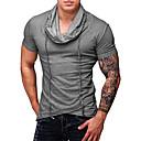 ราคาถูก เสื้อยืดและเสื้อกล้ามผู้ชาย-สำหรับผู้ชาย เสื้อเชิร์ต พื้นฐาน / Street Chic ฝ้าย ลายต่อ เพรียวบาง สีพื้น ใบไม้สีเขียวที่มีสามแฉก / แขนสั้น
