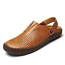 ราคาถูก รองเท้าแตะผู้ชาย-สำหรับผู้ชาย รองเท้าหนัง หนัง ฤดูร้อน Sporty / ไม่เป็นทางการ รองเท้าแตะ วสำหรับเดิน / รองเท้าต้นน้ำ ระบายอากาศ สีดำ / สีน้ำตาล