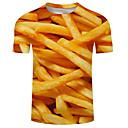 billiga Zentai-Tryck, 3D Plusstorlekar T-shirt Herr Rund hals Gul