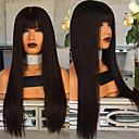 billige Lipgloss-Syntetiske parykker Kinky Glatt Midtdel Parykk Lang Svart Syntetisk hår 22 tommers Dame Dame Mørkebrun
